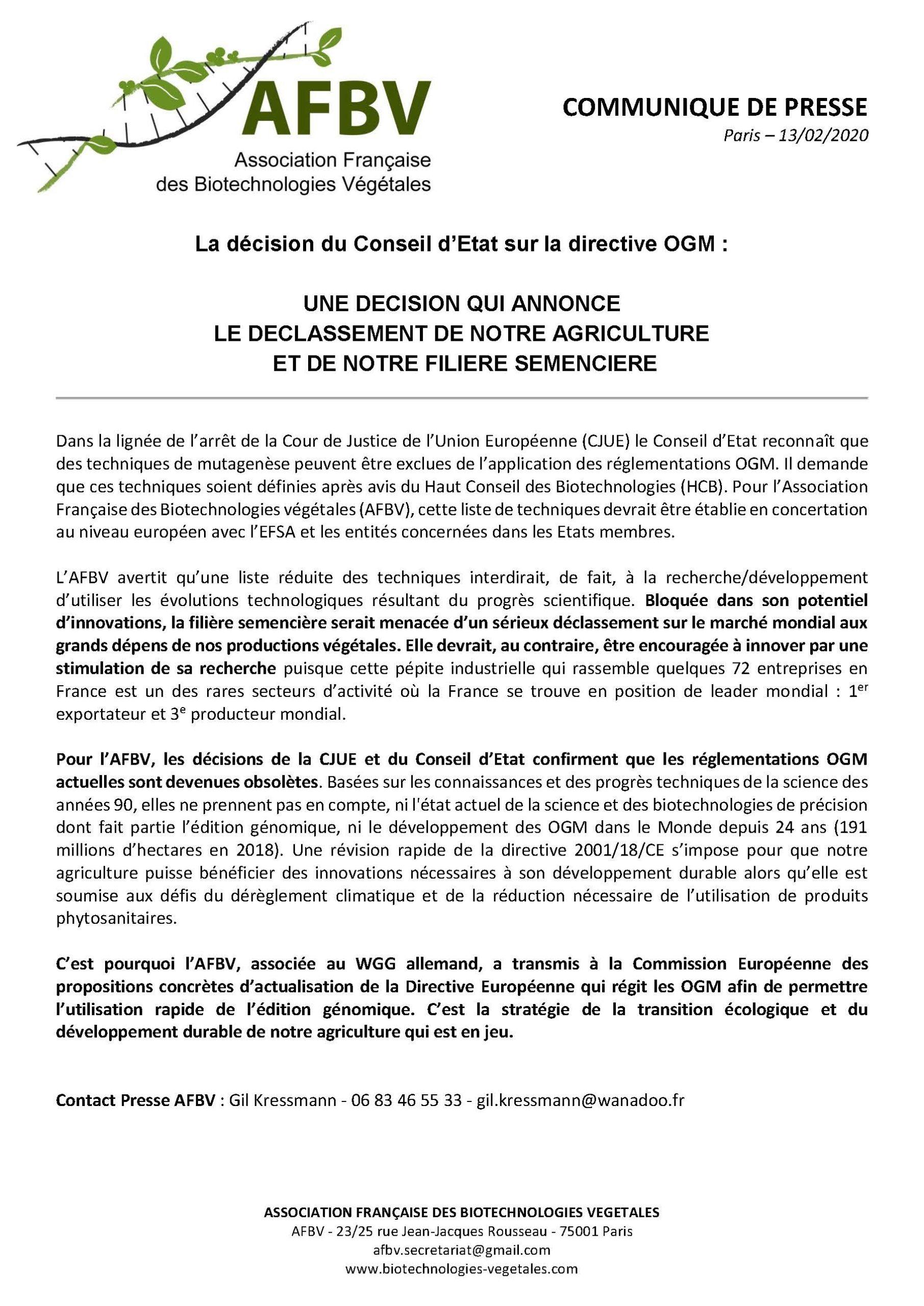 La décision du Conseil d'Etat sur la directive OGM annonce le…