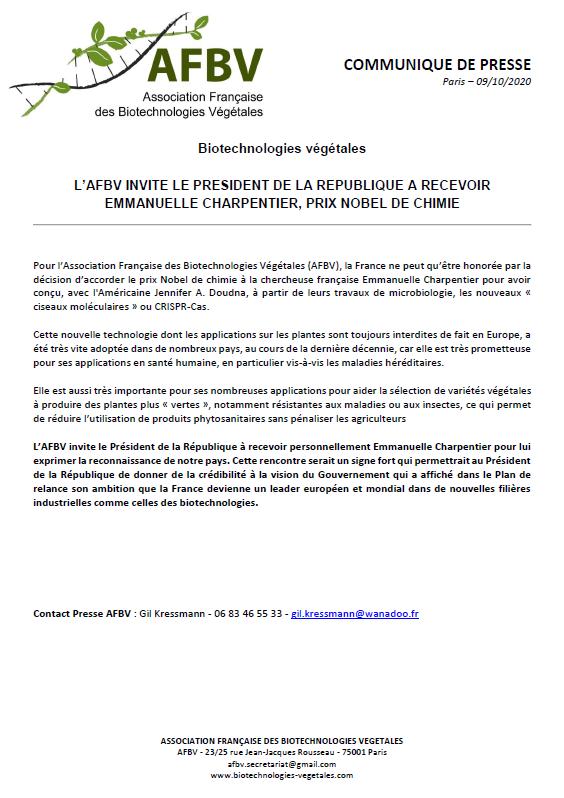 L'AFBV invite le Président de la République à recevoir Emmanuelle Charpentier, prix Nobel de chimie