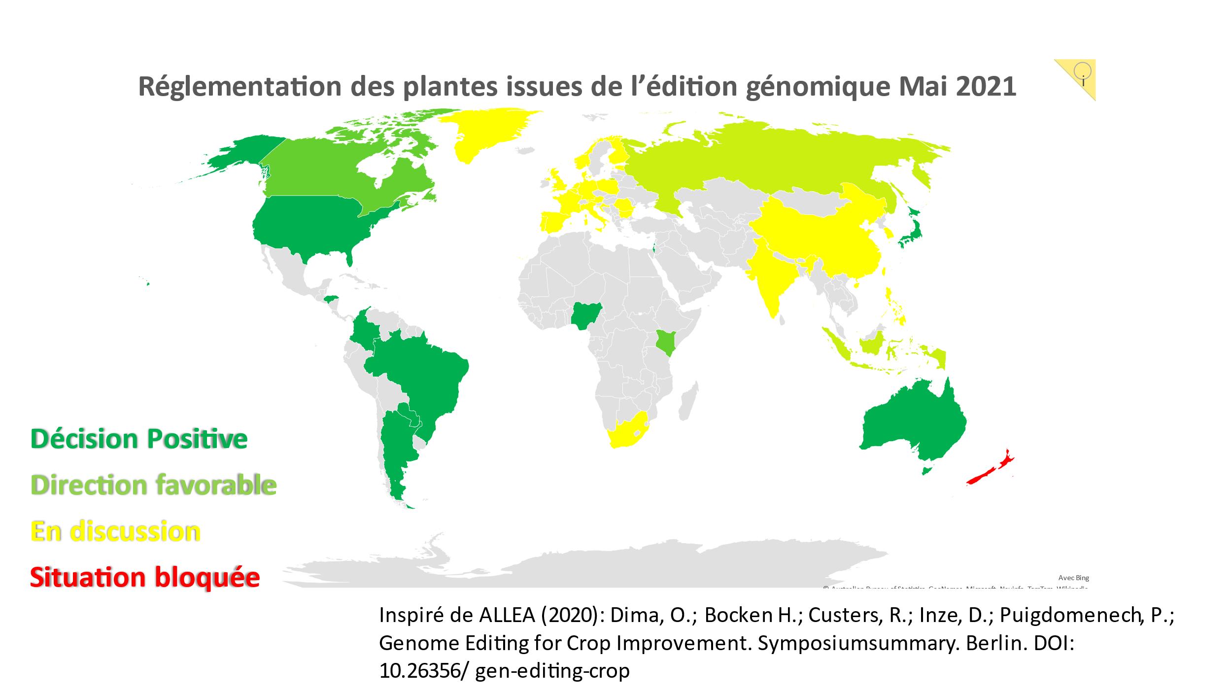 Approches réglementaires pour les plantes éditées dans le monde