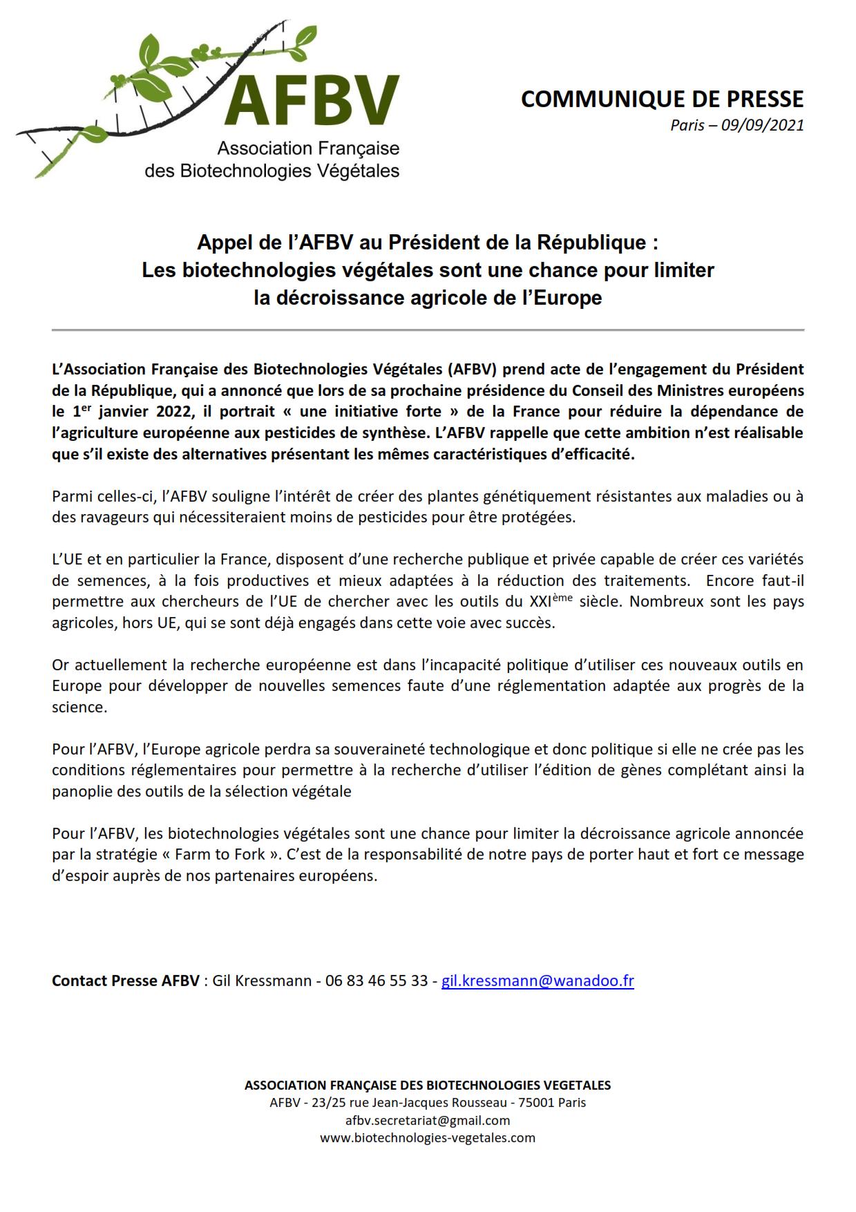Appel de l'AFBV au Président de la République : les biotechnologies végétales sont une chance pour limiter la décroissance agricole de l'Europe